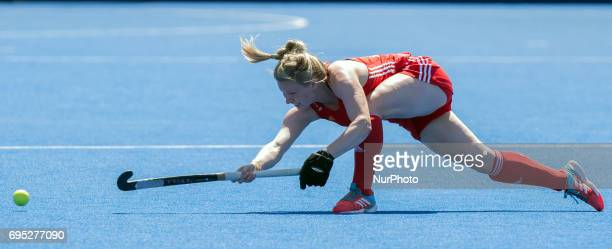 England's Hollie Webb passes during the Investec International match between England Women and Argentina Women at The Lee Valley Hockey and Tennis...