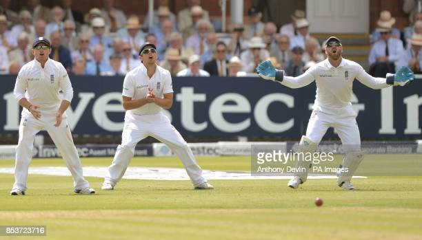 England's Ian Bell Alistair Cook and Matt Prior react during day one of the second test at Lord's Cricket Ground London