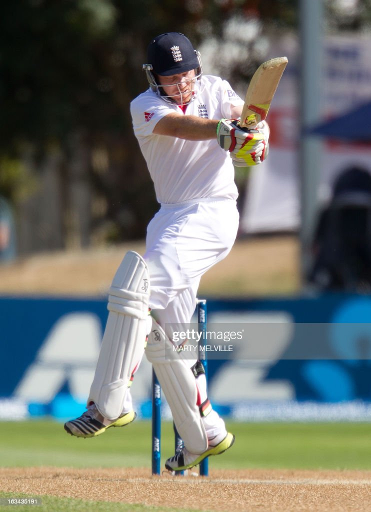 England's Ian Bell bats during day four of the first international cricket Test match between New Zealand and England played at the University Oval park in Dunedin on March 10, 2013. AFP PHOTO / Marty MELVILLE