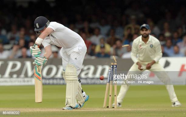 England's Ian Bell is bowled out by India's Ishant Sharma for 1 run during day four of the second test at Lord's Cricket Ground London