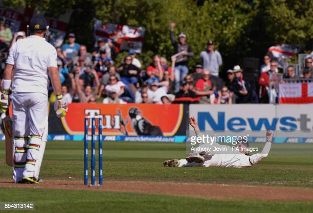 England's Ian Bell is caught by New Zealand's Hamish Rutherford during Day Two of the First Test at the University Oval Dunedin New Zealand
