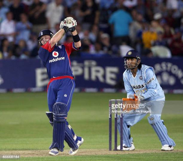England's Ian Bell is caught by Patel bowled Piyush Chawla for 64 runs during the NatWest Series match at the County Ground Bristol