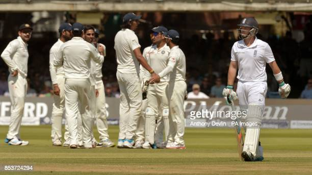 England's Ian Bell leaves the field after being caught by India's Ravindra Jadeja for16 during day two of the second test at Lord's Cricket Ground...