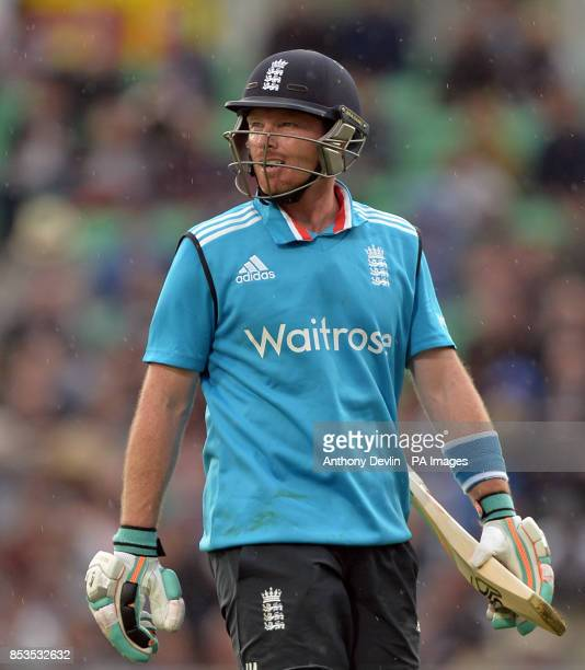 England's Ian Bell leaves the field after losing his wicket during the ODI at the Kia Oval London