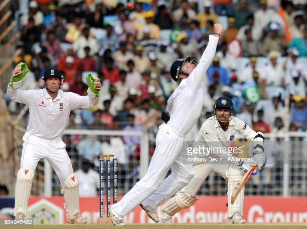 England's Ian Bell misses a catch from India's Virender Sehwag during the fourth day of the First Test Match at the M A Chidambaram Stadium in...