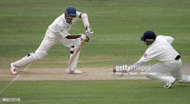 England's Ian Bell misses a catch from Wasim Jaffer during the second day of the first npower Test at Lord's Cricket Ground London