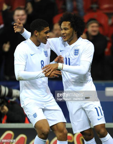England's Isaiah Brown celebrates with Ruben LoftusCheek after scoring the opening goal of the game against Italy