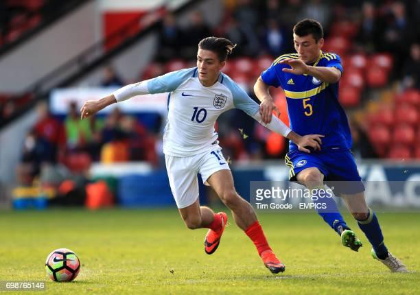England's Jack Grealish and Bosnia and Herzegovina's Milos Satara battle for the ball