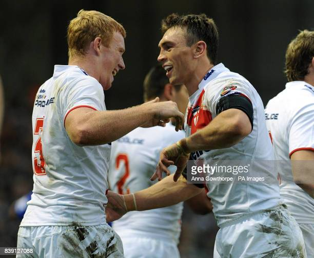 England's Jack Reed celebrates his try with Kevin Sinfield during the Gillette Four Nations match at Leigh Sports Village Leigh