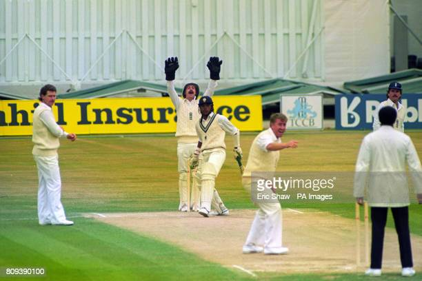 England's Jack Russell and Eddie Hemmings appeal against India's Sanjay Manjrekar England's Robin Smith and Allan Lamb look on