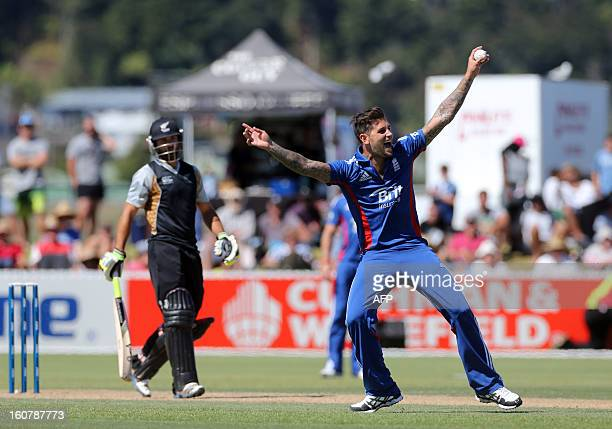 England's Jade Dernbach appeals unsuccessfully for the wicket of New Zealand XI's Anton Devcich during the warm up Twenty20 cricket match between the...