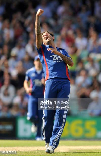 England's Jade Dernbach celebrates after dismissing South Africa's Wayne Parnell during the 3rd NatWest Series One Day International between England...