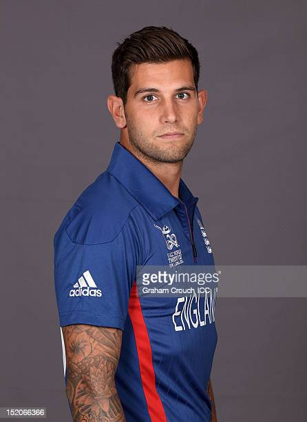England's Jade Dernbach poses at a portrait session ahead of the opening of the ICC T20 World Cup on September 16 2012 in Colombo Sri Lanka