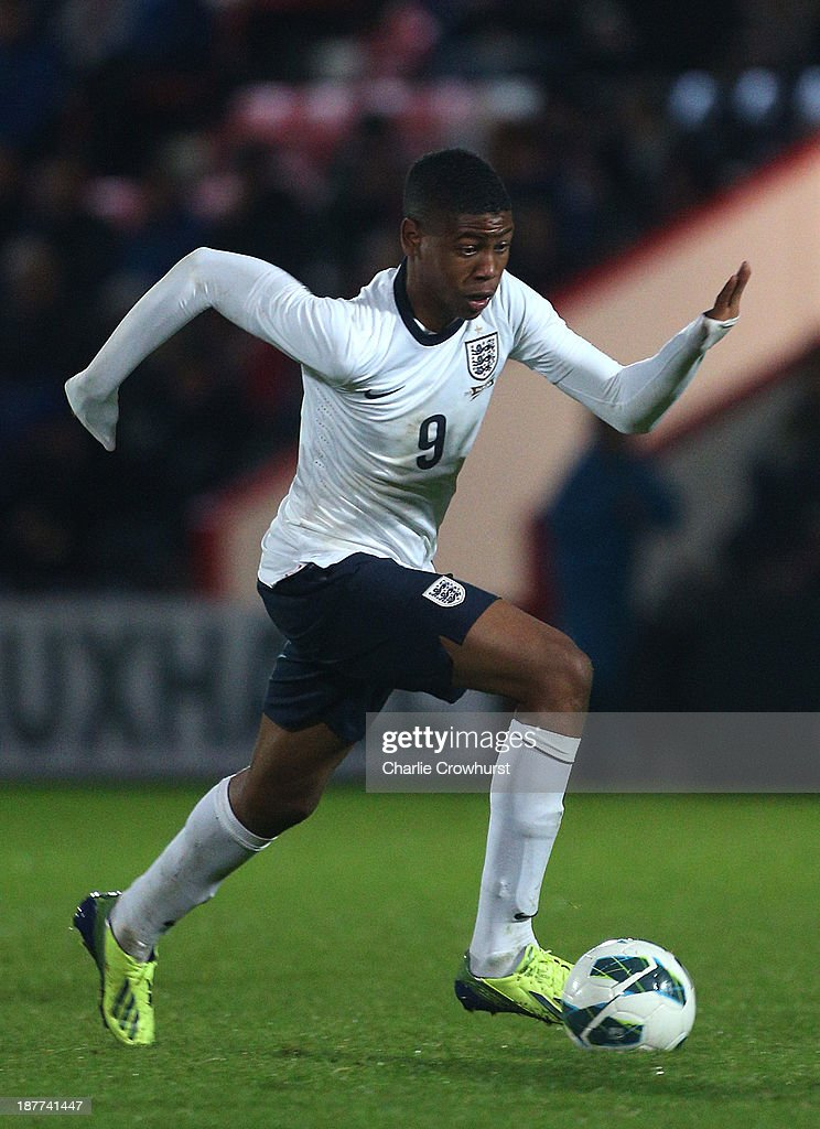 England's Jahmal Hector-Ingram looks to attack during the Victory Shield match between England U16 and Northern Ireland U16 at Goldsands Stadium on November 08, 2013 in London, England.