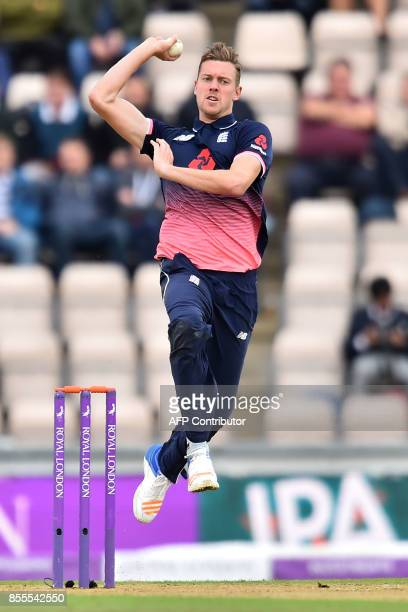 England's Jake Ball bowls during the final OneDay International cricket match between England and the West Indies at the Ageas Bowl in Southampton...
