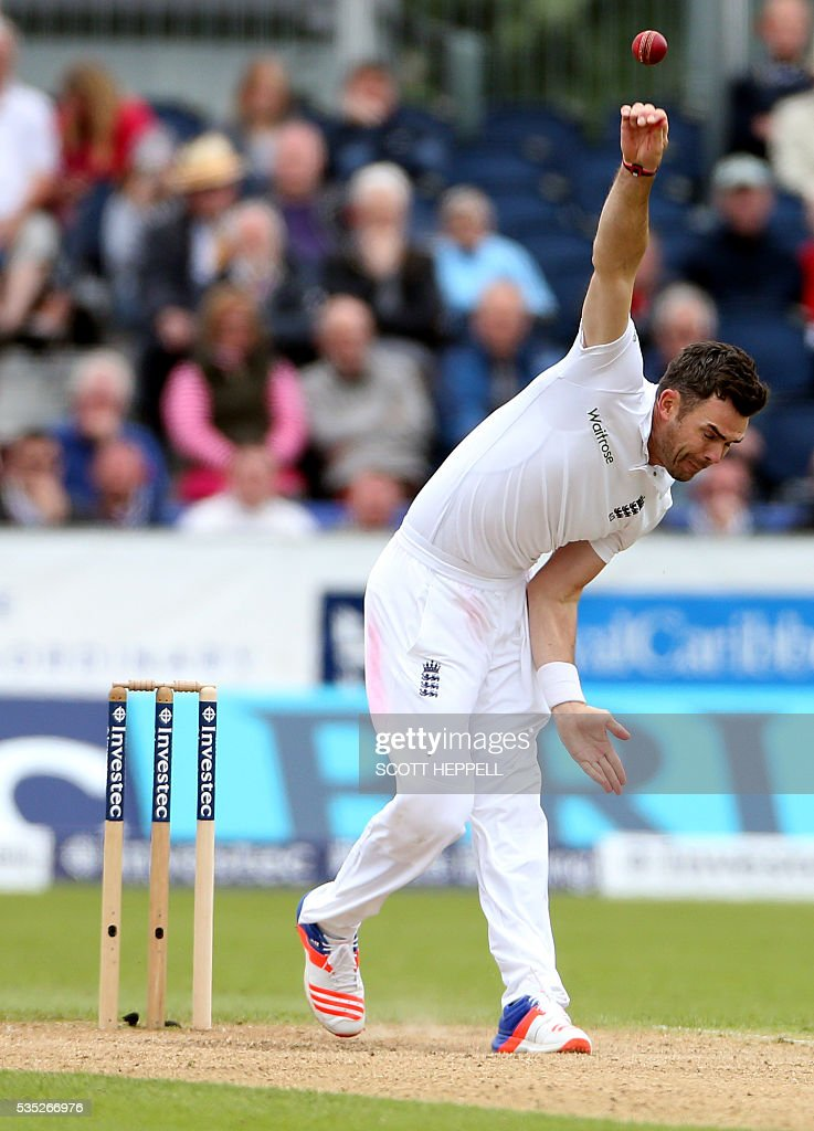 England's James Anderson bowls on the third day of the second test cricket match between England and Sri Lanka at the Riverside in Chester Le Street, north east England on May 29, 2016. / AFP / SCOTT