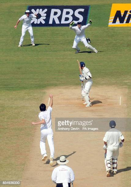 England's James Anderson bowls out Virender Sehwag for 9 during the second day of the First Test Match at the M A Chidambaram Stadium in Chennai India