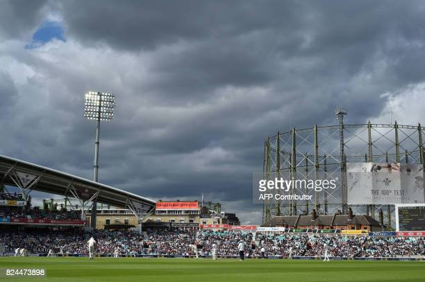 England's James Anderson bowls to South Africa's Heino Kuhn on the fourth day of the third Test match between England and South Africa at The Oval...