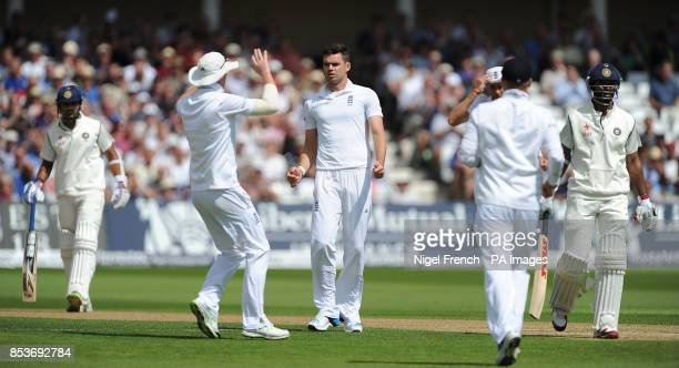 England's James Anderson celebrates after taking the wicket of India's Shikhar Dhawan during day one of the first Investec test match at Trent Bridge...