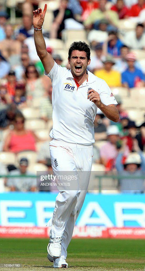 England's James Anderson celebrates after taking the wicket of Tamin Iqbal of Bangladesh for 108 during the second day of the second Test match at Old Trafford in Manchester, north-west England on June 5 2010. Ian Bell scored his third century against Bangladesh but Tamim Iqbal led a spirited fightback as the Tigers refused to yield on the second day of the second Test here at Old Trafford.
