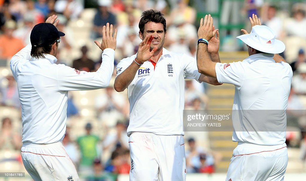 England's James Anderson (C) celebrates after taking the wicket of Tamin Iqbal of Bangladesh for 108 during the second day of the second Test match at Old Trafford in Manchester, north-west England on June 5 2010. Ian Bell scored his third century against Bangladesh but Tamim Iqbal led a spirited fightback as the Tigers refused to yield on the second day of the second Test here at Old Trafford.