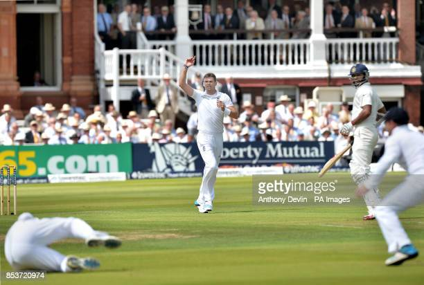 England's James Anderson celebrates as Gary Ballance takes the catch of India's Shikhar Dhawan during day one of the second test at Lord's Cricket...