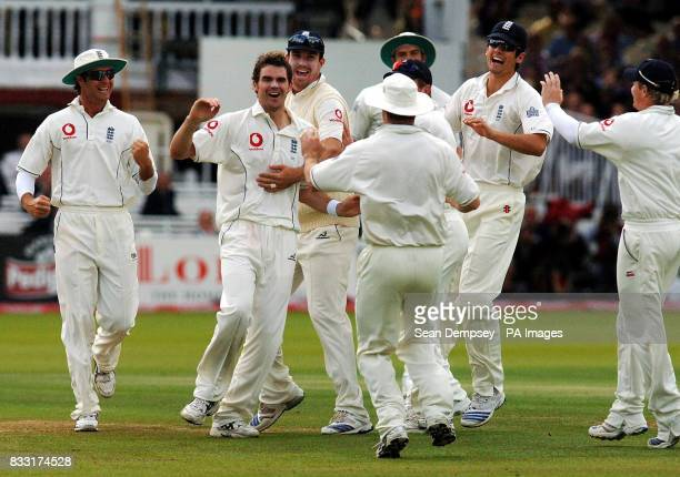 England's James Anderson celebrates bowling Indian captian Rahul Dravid caught Matt Prior during the second day of the first npower Test at Lord's...