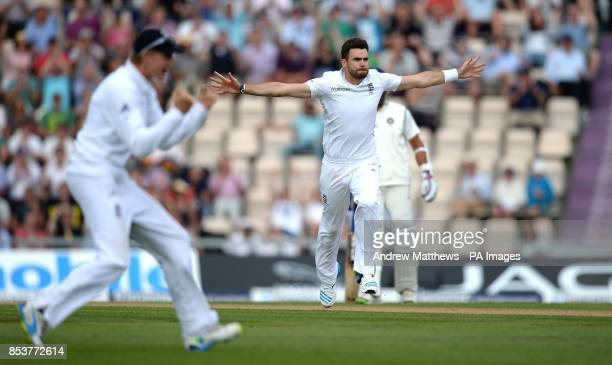 England's James Anderson celebrates taking the wicket of India's Shikhar Dhawan during day two of the Third Investec Test match at the Ageas Bowl...