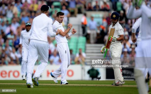 England's James Anderson celebrates taking the wicket of India's Gautam Gambhir during the Fifth Test at The Kia Oval London