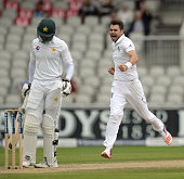 England's James Anderson celebrates taking the wicket of Pakistan's Shan Masood on the third day of the second Test cricket match between England and...