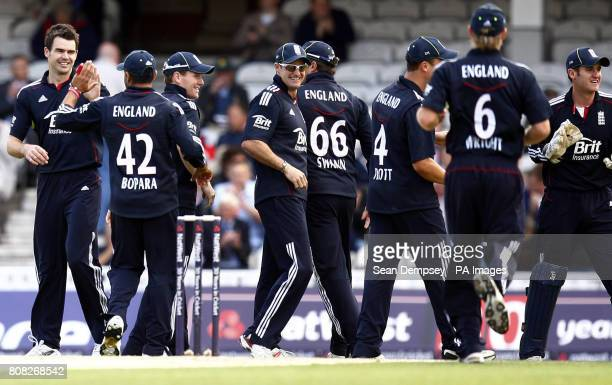 England's James Anderson celebrates taking the wicket of Pakistan's Mohammad Hafeez during the Third One Day International at the Brit Insurance Oval...