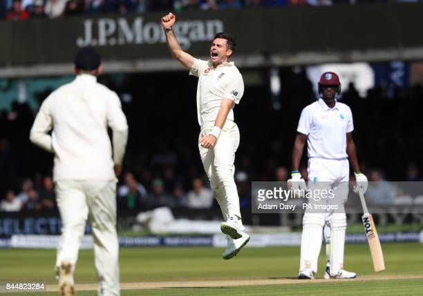 England's James Anderson celebrates taking the wicket of Shai Hope West Indies' during day three of the Third Investec Test match at Lord's London