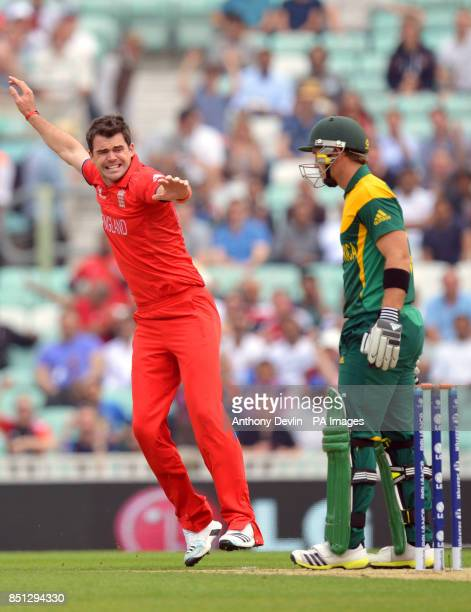England's James Anderson celebrates taking the wicket of South Africa's Colin Ingram lbw for 0 during the ICC Champions Trophy Semi Final at the Oval...