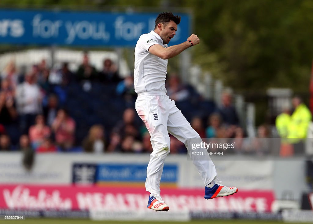 England's James Anderson celebrates taking the wicket of Sri Lanka's Angelo Matthews on the third day of the second test cricket match between England and Sri Lanka at the Riverside in Chester Le Street, north east England on May 29, 2016. / AFP / SCOTT