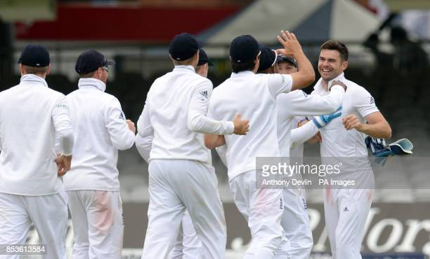 England's James Anderson celebrates taking the wicket of Sri Lanka's Kumar Sangakkara during day five of the Investec Test match at Lord's Cricket...