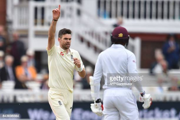 England's James Anderson celebrates taking the wicket of West Indies' Kyle Hope during the third international Test match between England and West...