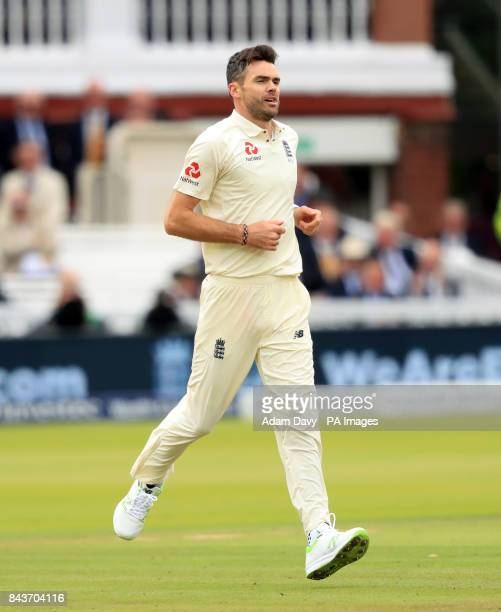 England's James Anderson celebrates taking the wicket of West Indies' Kyle Hope during day one of the Third Investec Test match at Lord's London