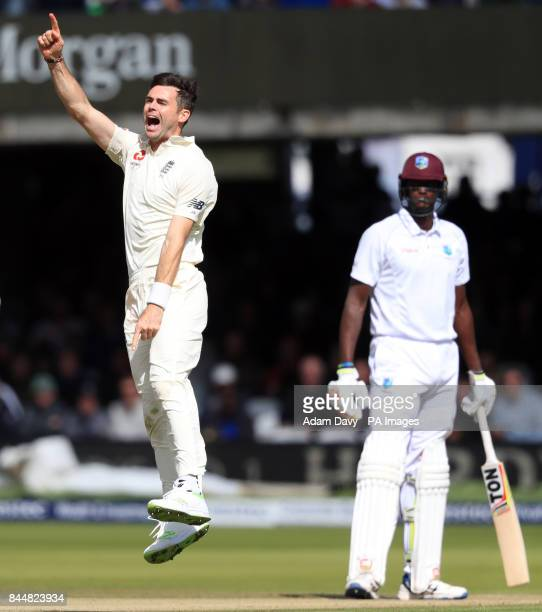 England's James Anderson celebrates taking the wicket of West Indies' Shai Hope during day three of the Third Investec Test match at Lord's London