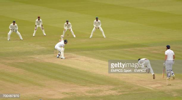 England's James Anderson ducks a bouncer from India's Bhuvneshwar Kumar during day three of the second test at Lord's Cricket Ground London