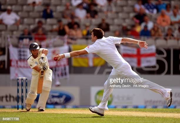 England's James Anderson fields off his own bowling to Zealand's Ross Taylor during day two of the Third Test match at Eden Park Auckland New Zealand