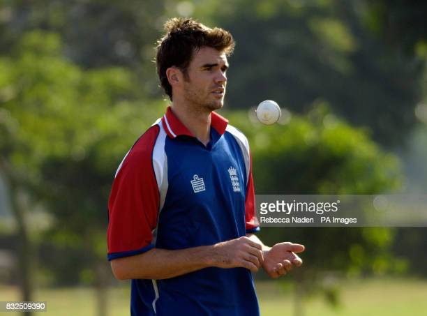 England's James Anderson prepares to bowl during a practice session at the Siri Fort Sports Complex Delhi India