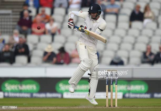 England's James Anderson prepares to play a shot before losing his wicket for 2 runs on day 4 of the fourth Test match between England and South...