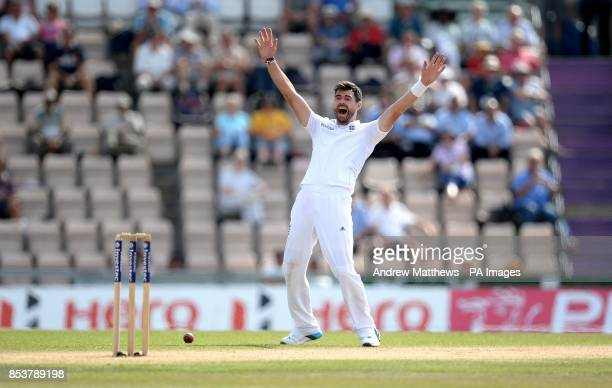 England's James Anderson unsuccessfully appeals for the wicket of India's Shikhar Dhawan during day four of the Third Investec Test match at the...