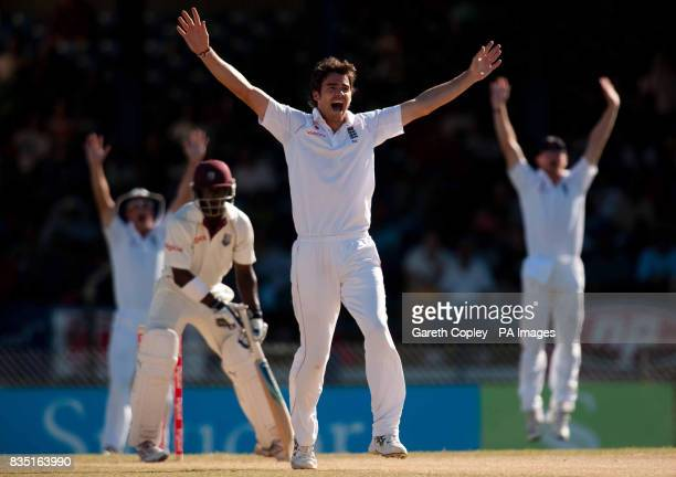 England's James Anderson unsuccessfully appeals for the wicket of West Indies's Devon Smith during the fifth test at Queen's Park Oval Port of Spain...
