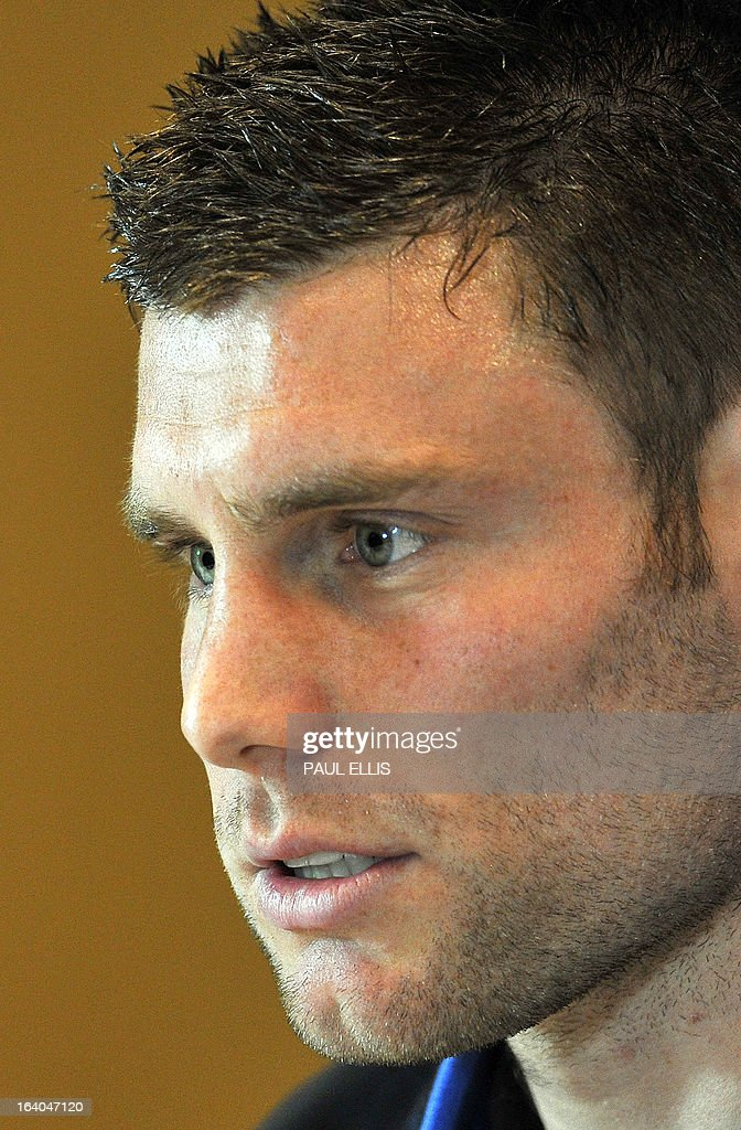 England's James Milner attends a press conference at the St George's Park training complex, near Burton-upon-Trent, central England on March 19, 2013 ahead of their 2014 World Cup qualifier football match against San Marino on March 22. AFP PHOTO / PAUL ELLIS NOT FOR MARKETING OR ADVERTISING USE / RESTRICTED TO EDITORIAL USE