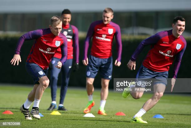 England's James WardProwse and Michael Keane during the training session at Enfield Training Ground London