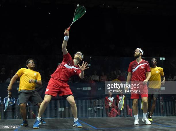 England's James Willstrop and Daryl Selby against St Vincent and the Grenadines' Jason Doyle and Jules Snagg pool match at Scotstoun Sports Campus...