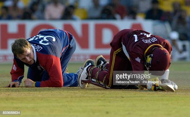 England's Jamie Dalrymple after clashing with West Indies Dwayne Bravo during the ICC Champions Trophy match at the Sardar Patel Stadium Ahmedabad...