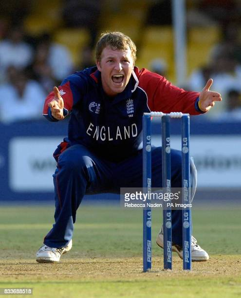 England's Jamie Dalrymple appeals unsuccessfully for lbw during the ICC Champions Trophy match against the West Indies at the Sardar Patel Stadium...