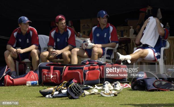 England's Jamie Dalrymple Ed Joyce James Anderson and Steve Harmison during a nets practice session at the Sardar Patel Stadium Ahmedabad India